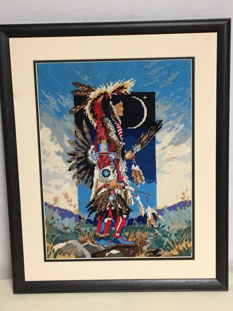 Handcrafted Finished Framed Needlepoint Native American Dancer Needlepoint Pow-Wow Dancer by Jolene Cleo Thompson