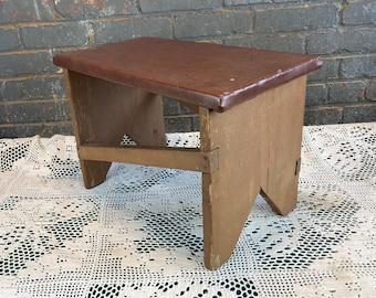 Handmade Wooden Footstool, Antique Homemade Wood Step Stool