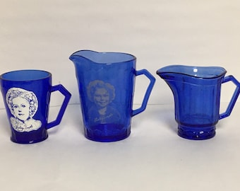 Shirley Temple Pitcher and Glass, Hazel Atlas Cobalt Blue Glass, Set of Three (3), Shirley Temple Pitcher and Glass and One Plain Pitcher