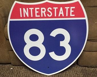 """Vintage Original INTERSTATE 83 Highway Shield Metal Sign Highway I-83 Sign Traffic Sign Man Cave Decor 24"""" x 24"""""""