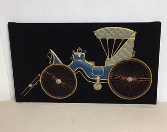 Vintage Handmade Carriage, Nail and Wire Art Wall Hanging, Steampunk, Salvage, Rickshaw,  Mixed Material Assembly Art, Velvet Backing