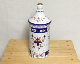 Porcelain Jar with Lid, Isco Ceramic Jar, Made in Japan, Cylinder Shaped Container, Candy Dish, Asian Decor