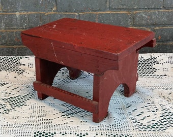 1940's Handmade Primitive Red Wooden Step Stool, Shabby Red Farmhouse Stool