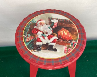 Handmade Red Christmas Santa Wooden Stepstool, Foot Stool, Farmhouse