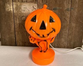 Vintage Bayshore Blow Mold Halloween Pumpkin & Cat, Light Up Decoration, Empire Plastic Jack-o-Lantern