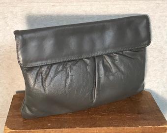 Letisse Leather Clutch Purse, Gray Gathered Handbag