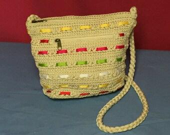 Croft and Barrow Crochet Purse with Ribbons, Crossbody, Shoulder Bag, Boho Bag