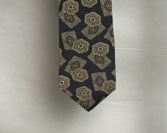 Jordache Mens Silk Tie, Navy Blue and Paisley Tie,