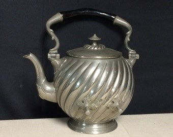 Gerhardi & Co 1635 Teapot, Silverplate, Swirl Pattern, Holloware, Alpacca Silver, Tipping Teapot