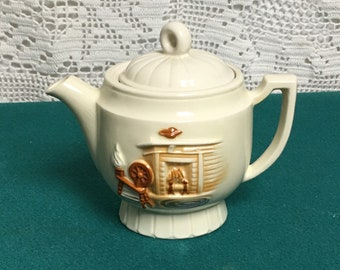 Porcelier Vitreous Hand Decorated China Teapot, Hearth Pattern, Ceramic Teapot, Spinning Wheel Fireplace Image, Made in the USA