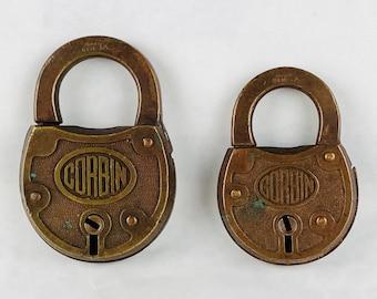 2 Antique Vintage Corbin Brass Padlocks EN1 No Keys