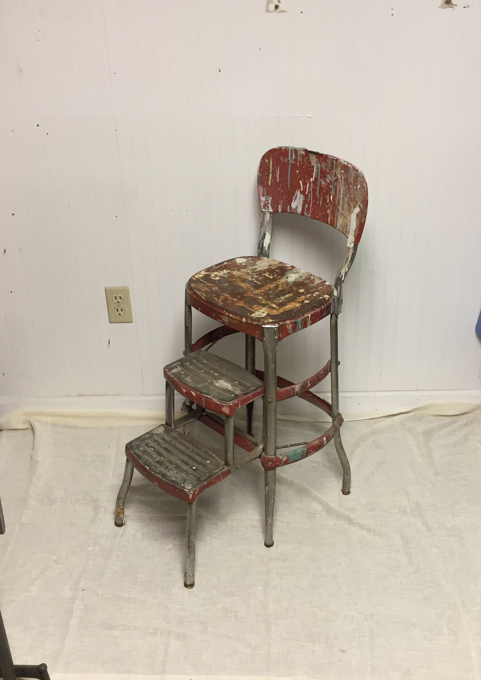 Fabulous Shabby Red 1950S Cosco Metal Step Stool Chair With Pull Out Ncnpc Chair Design For Home Ncnpcorg