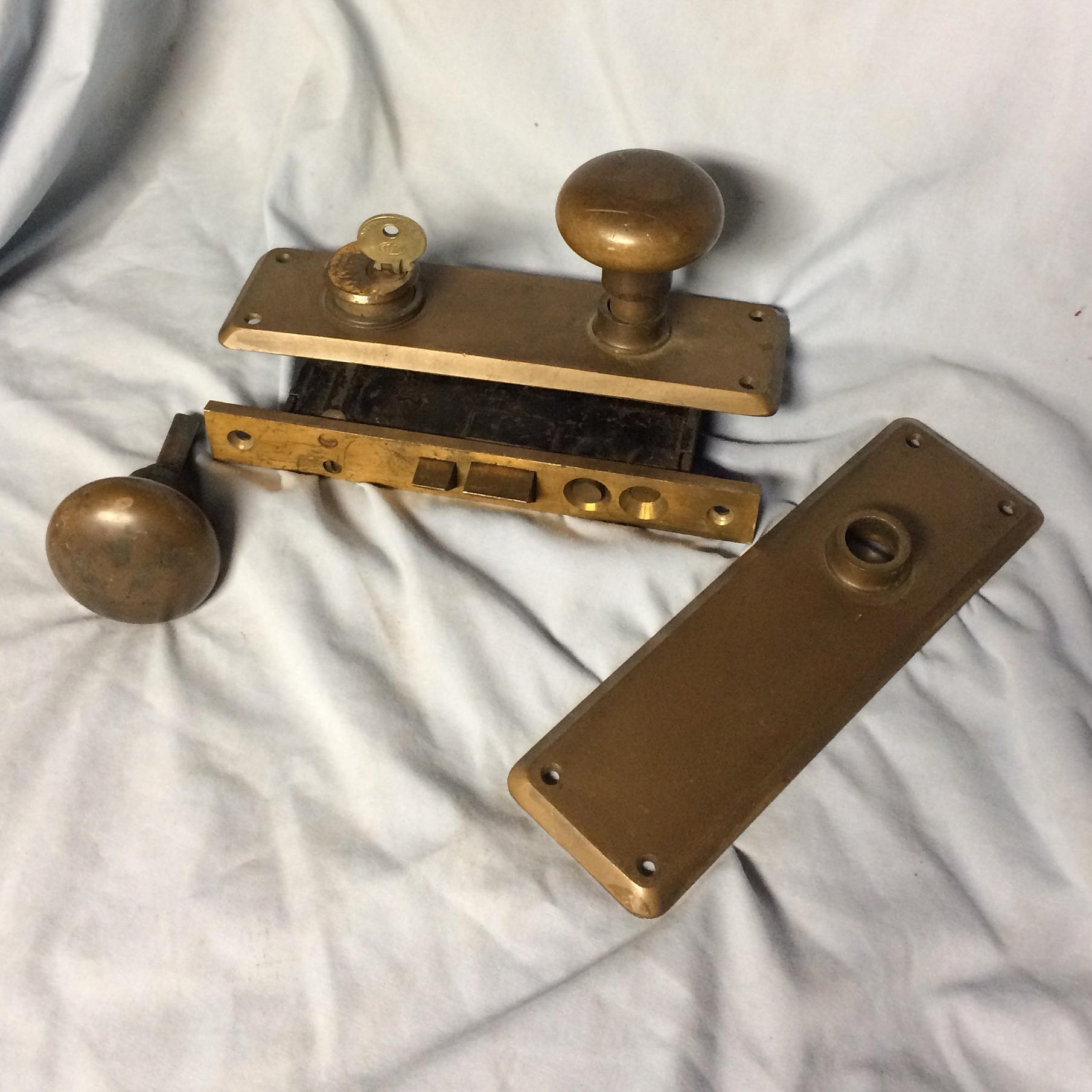 Vintage Reading Brass Door Knob Latch Lock Set Mortise