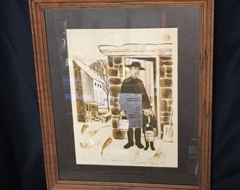 """Constantine Kermes, 1974, Original Limited Edition Amish Print, """"Rural Traditions"""", Signed and Numbered, Lancaster County Folk Art"""