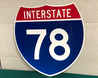 """An Authentic INTERSTATE 78 Highway Shield Metal Sign, I-78 Road Sign 24"""" x 24"""""""