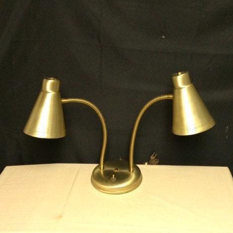 Mid Century Gold Tone Double Goose Neck Desk Lamp Atomic Gooseneck