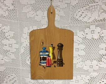 Mid Century Nevco Wood Cutting Board with Salt and Pepper Shaker Graphics, Made in Yugoslavia, Cutting Board, Cheese Board