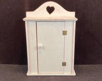 Vintage Small Wooden Bathroom Medicine Cabinet Cupboard with Hinged Door, Vanity Cabinet