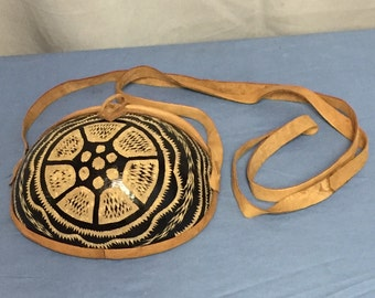 Carved Coconut and Leather Purse, Crossbody Purse