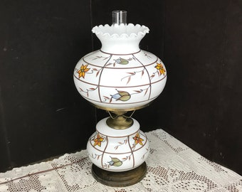 A Gorgeous Large Victorian Hurricane Table Lamp Hand Painted