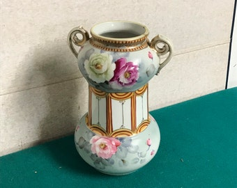 Imperial Nippon Vase, Hand Painted Porcelain Vase, Early 1900's Vase, Made in Japan,