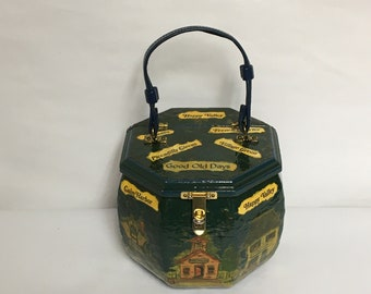 """Handmade Decoupage Wooden Box Purse, Old  European Towns, """"Good Old Days"""", Eight (8) Sided Wood Purse with Vinyl Strap, Hinged Lid"""