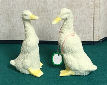 Pair of Bisque Porcelain Geese, Department 56, Hand Painted Geese, Two (2) Hand Painted Geese, Easter Figurines