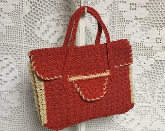 Plastic Wire Cord Crochet Purse, Woven Red and Tan Handbag, 1940's Purse, Cording Purse