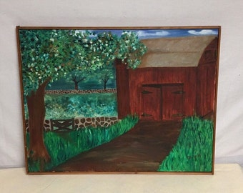 Red Barn Oil Painting on Canvas, Painting Signed B. Hill, Beverly Hill 1967, Vintage Farm Painting