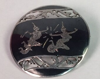 Vintage Siam Brooch, Asian Siam Pin Made in Thailand