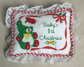 Baby's FIrst Christmas Fabric Pillow Ornament, Vintage Applique Christmas Ornament, Mini Pillow Ornament, Lace Trim