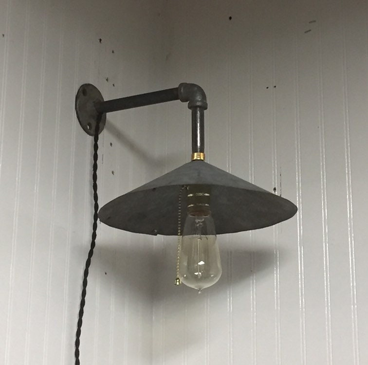 big sale 20cb5 b1cfb Old Original Galvanized Metal Barn Light Fixture Sconce ...