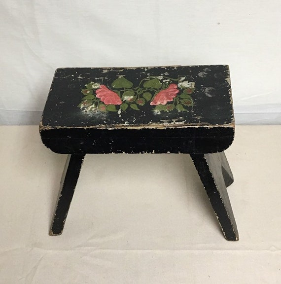 Terrific Small Black Painted Folk Stool Mortise And Tenon Stool Handmade Wooden Stool Step Stool Footstool Farmhouse Rustic Primitive Decor Andrewgaddart Wooden Chair Designs For Living Room Andrewgaddartcom