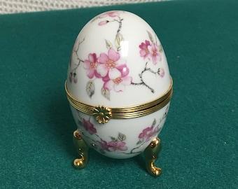 Limoges Castel Porcelain Footed Egg Shaped Trinket Box, Porcelaine Limoges Castel France