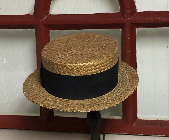 Antique Straw Boater Hat, Mens Victorian Straw Ha… - image 1