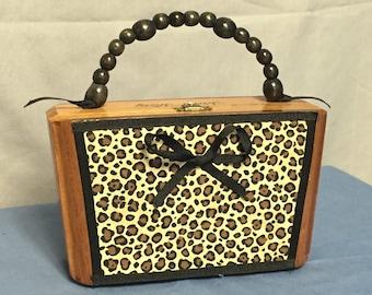 Cigar Box Purse, A.Fuente Cigar Box, Wooden Handbag, Animal Print Purse, Hard Body Purse
