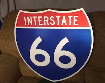 Authentic Original INTERSTATE 66 Highway Shield Metal Sign, Real Road Sign