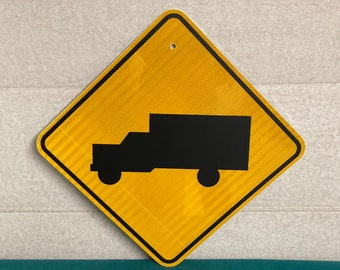 Authentic TRUCK CROSSING Pennsylvania Road Sign, Tractor Trailer, Real Highway Sign