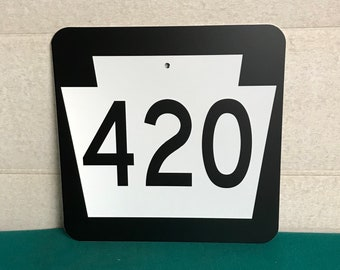 Authentic Pa Route 420 Metal Highway Sign, Real Road Sign