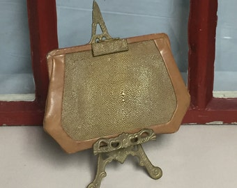 Antique Stingray Leather Purse with Belt Loop, Flapper Purse, 1920's to 1930's Leather Purse, Dance Purse, Small Clutch Purse, Coin Purse