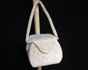 White Beaded Square Handbag by Josef, Vintage Hand Beaded In Belgium, Seed Beads,