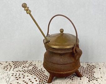 Antique Cast Iron Fire Starter Pot, Smudge Pot, Cauldron, Pumice Wand, Hearth Ware, Smelting Pot, Flower Pot, Rustic Planter