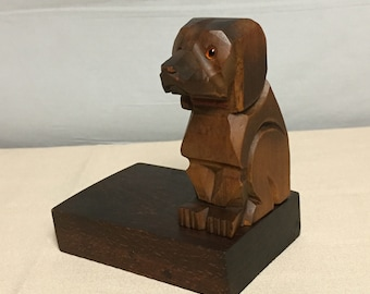 Vintage Black Forest Style Carved Wooden Dog Bookend,  Made in Germany, Beckhard Line Bookend, Hand Carved Wooden Dog Single Bookend