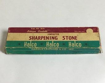 Vintage Halco Combination Carbide Sharpening Stone with Original Box, Harold Leonard & Co
