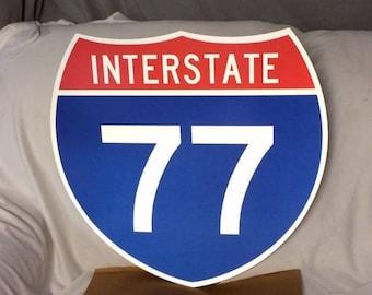 "Retired Original INTERSTATE 77 Highway Shield Metal Sign Highway I-77 Sign Traffic Sign Man Cave Decor 24"" x 24"""