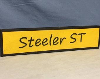 Pittsburgh Steelers, Steeler St. Handmade Wooden Sign