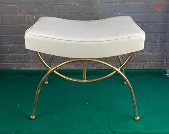 Mid Century Concave Padded Ottoman Seat with Gold Metal Legs, Cushioned Hassock,