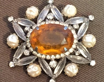 Vintage Unmarked Amber and Clear Rhinestone Brooch with Faux Pearls
