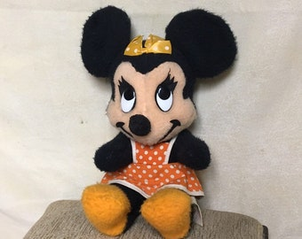 Minnie Mouse Stuffed Toy, Walt Disney Characters, California Stuffed Toys, 1950's Minnie Mouse Doll, Vintage Disney, Walt Disney Productions
