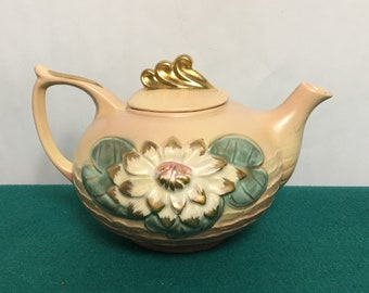 Hull Art Pottery Teapot, Water Lilly Pattern, L-18-6, Embossed Floral Teapot